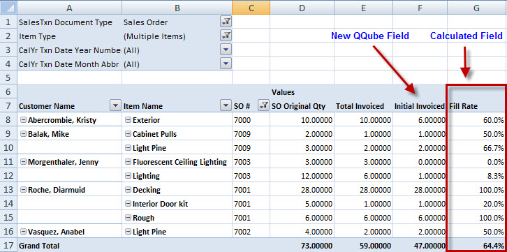 QQube Excel Fill Rate Example