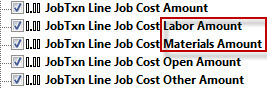 QQube Job Cost Actual Cost Fields