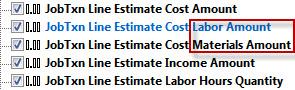 QQube Job Cost Estimate Fields