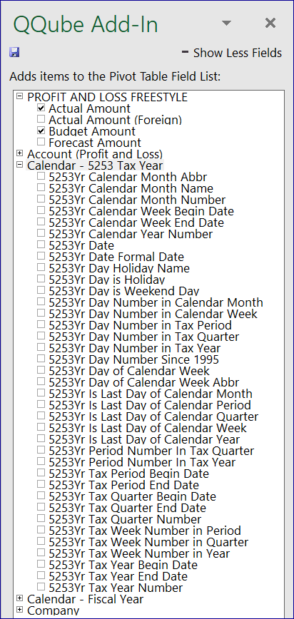 QQube Add-In with 52-53 Tax Year Calendar Dimension