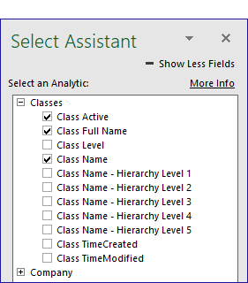 QQube Excel Add-In - Using Select Assistant to view QuickBooks Company Setup