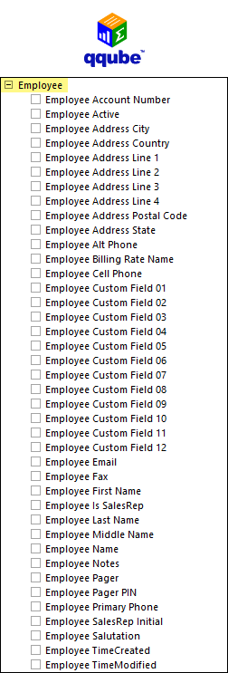 QQube List of Employee Fields