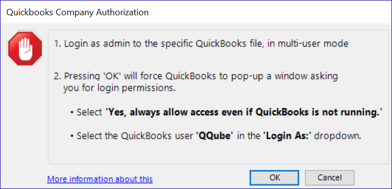 QQube Configuration Tool - Preparing for Company Authorization