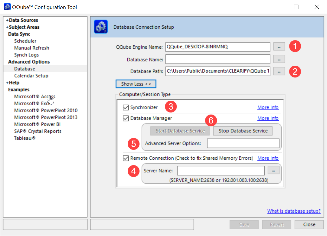 QQube Configuration Tool Advanced Database Administration