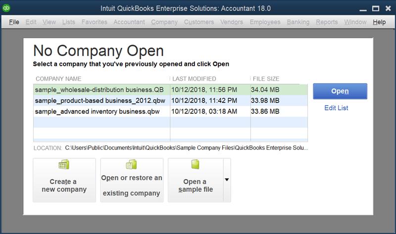 QuickBooks Open to No Company File