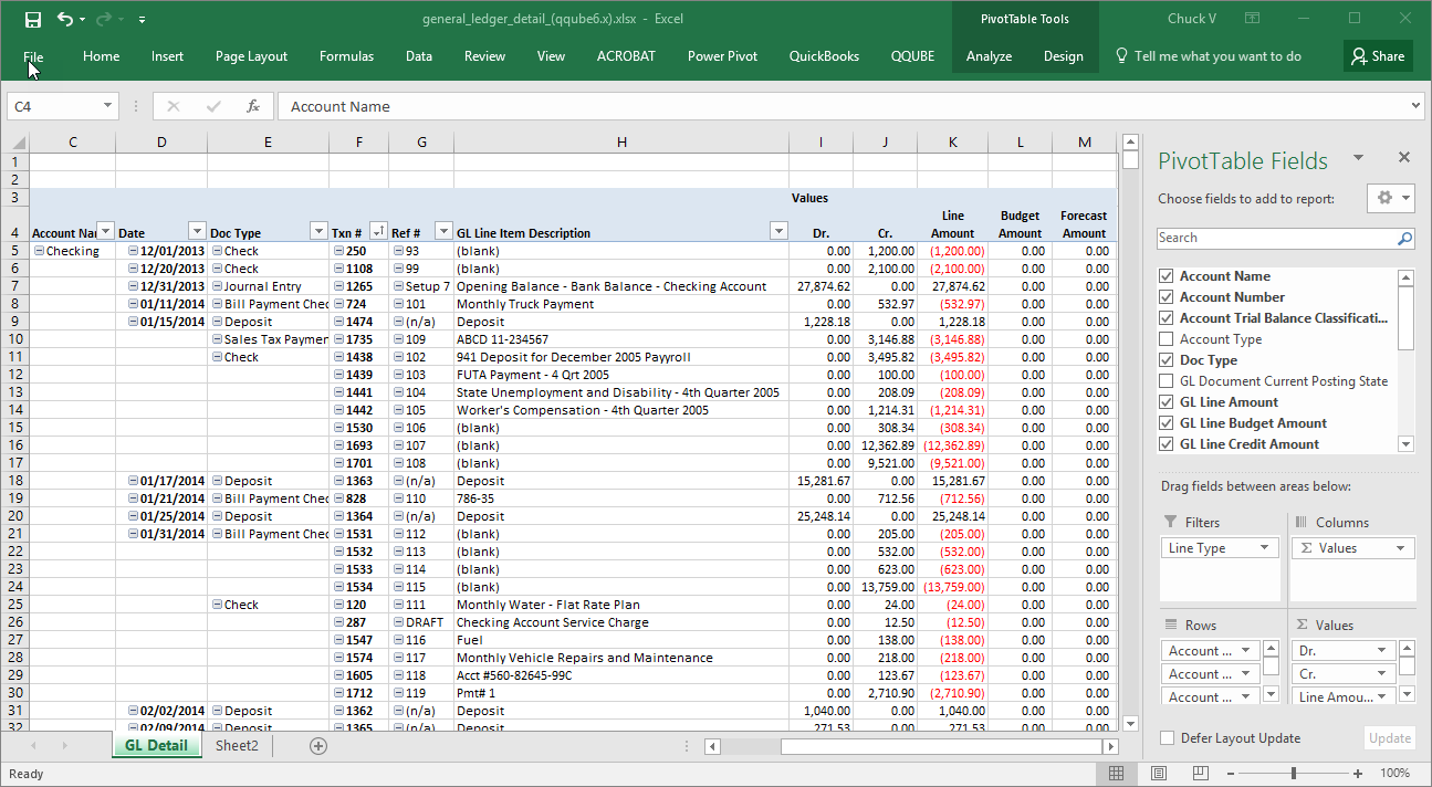 QQube General Ledger Detail Example in Excel
