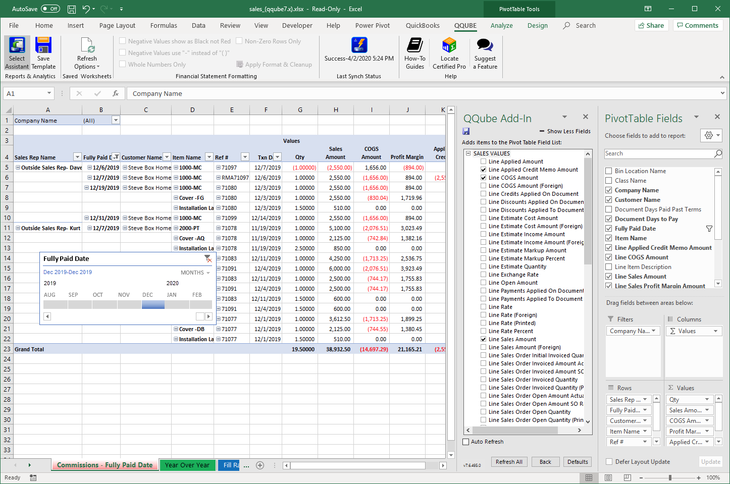 QuickBooks Sales Commission Reports using QQube with Excel