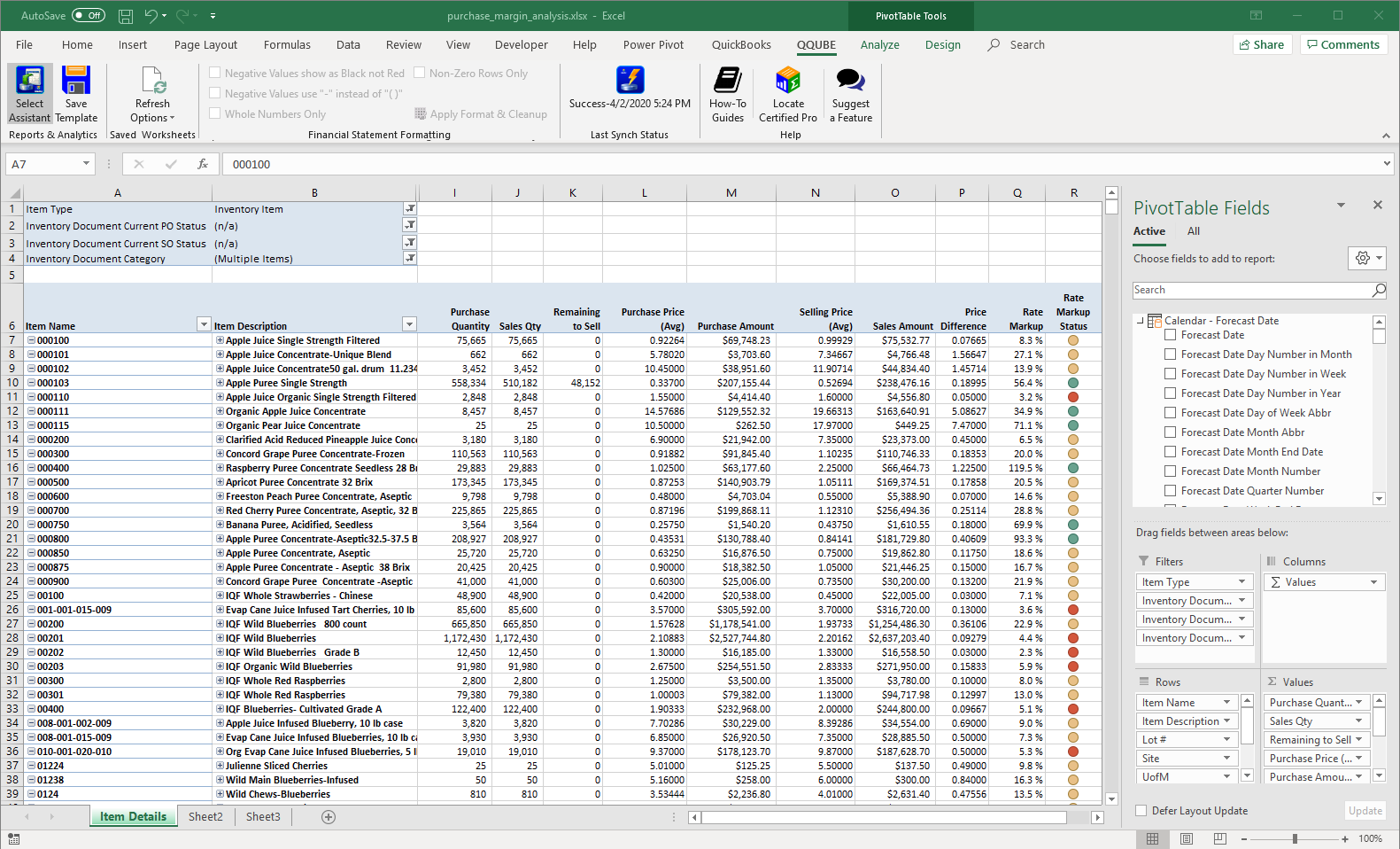QuickBooks Inventory Margin Analysis using QQube and Excel PowerPivot