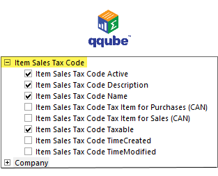 QQube DIMENSION - Item Sales Tax Code