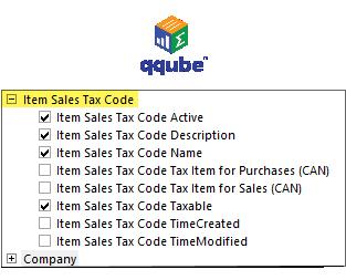 QQube DIMENSION - Item Sales Tax Code