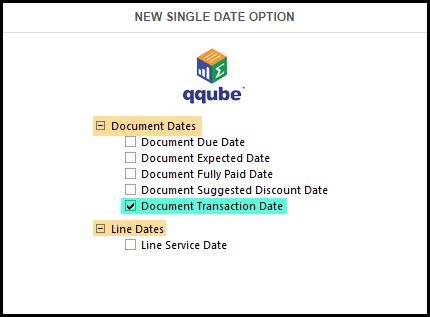 QQube 6.1 Single Date Options