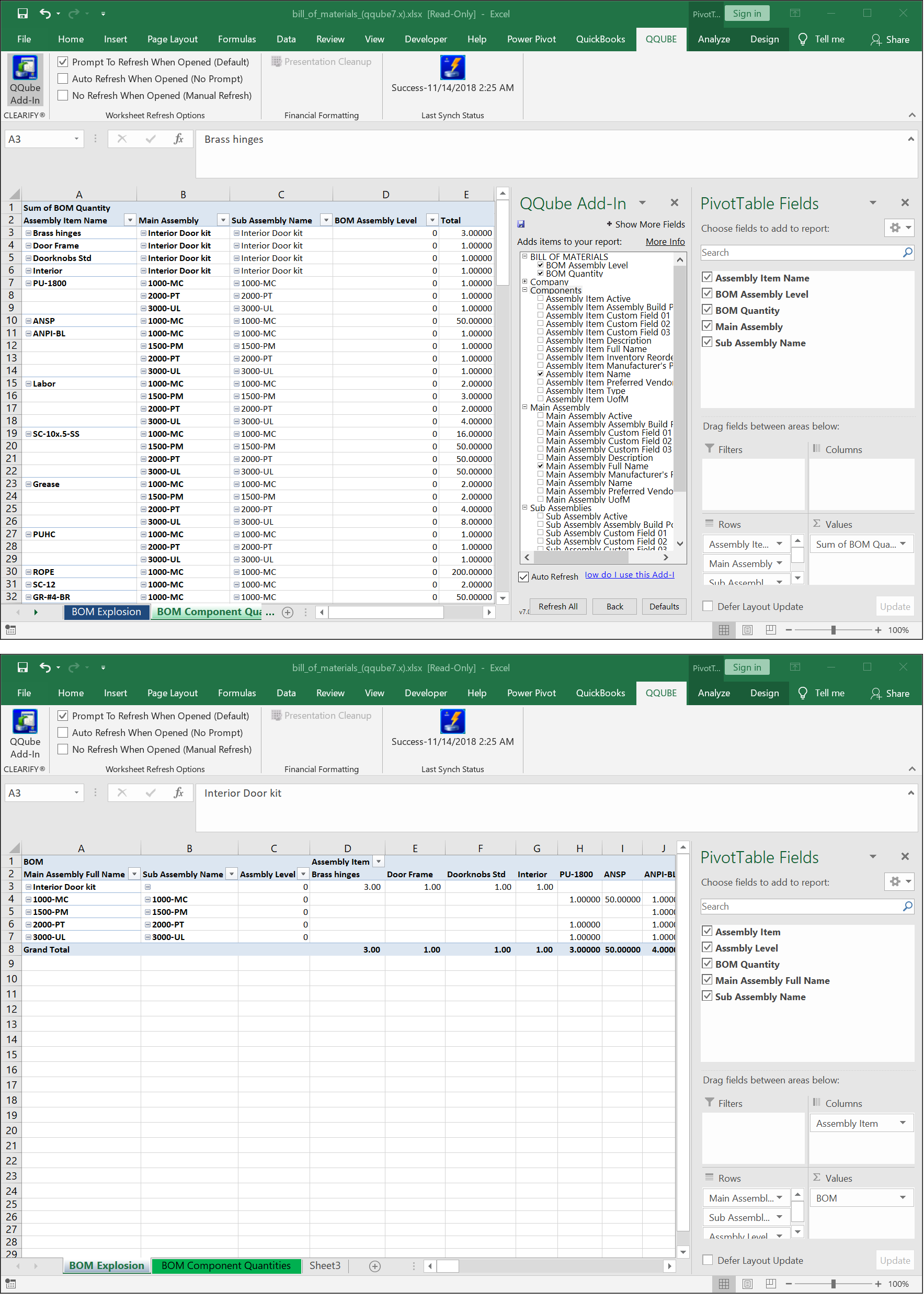 QuickBooks BOM Explosion using QQube and Excel