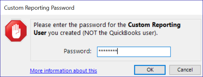 QQube Configuration Tool - Custom Reporting User Password