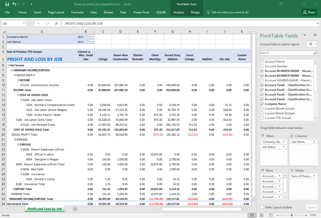 QuickBooks Profit and Loss by Job using QQube and Excel