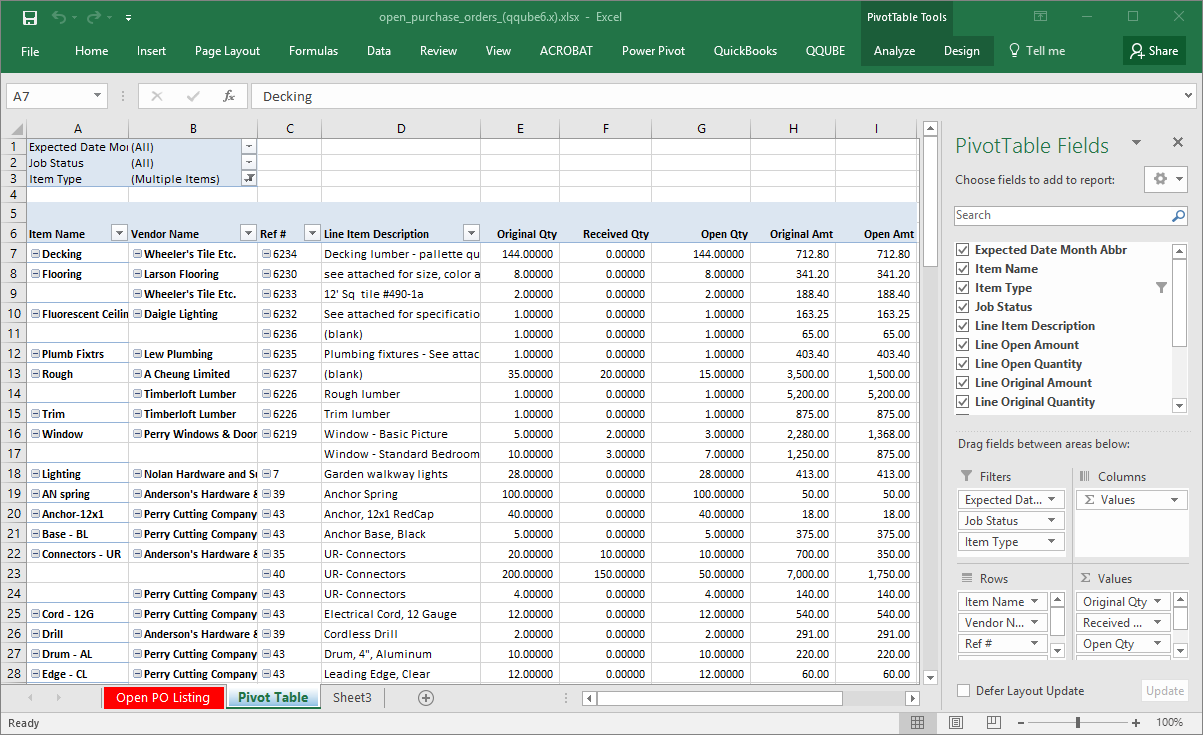 QQube Open Purchase Orders Details Example in Excel