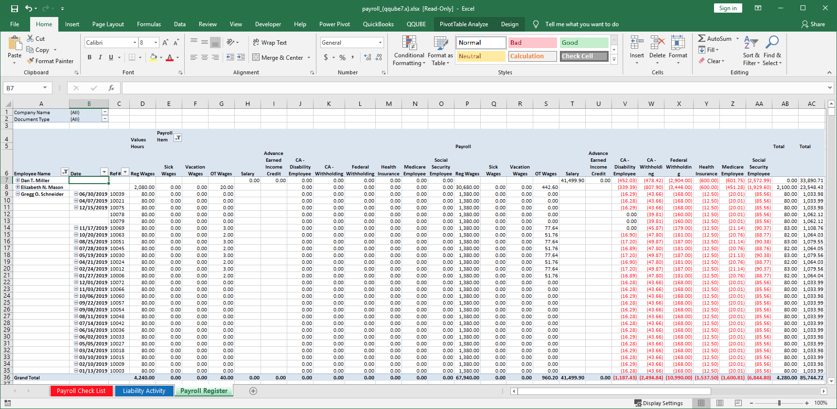 QuickBooks Payroll Register using QQube with Excel