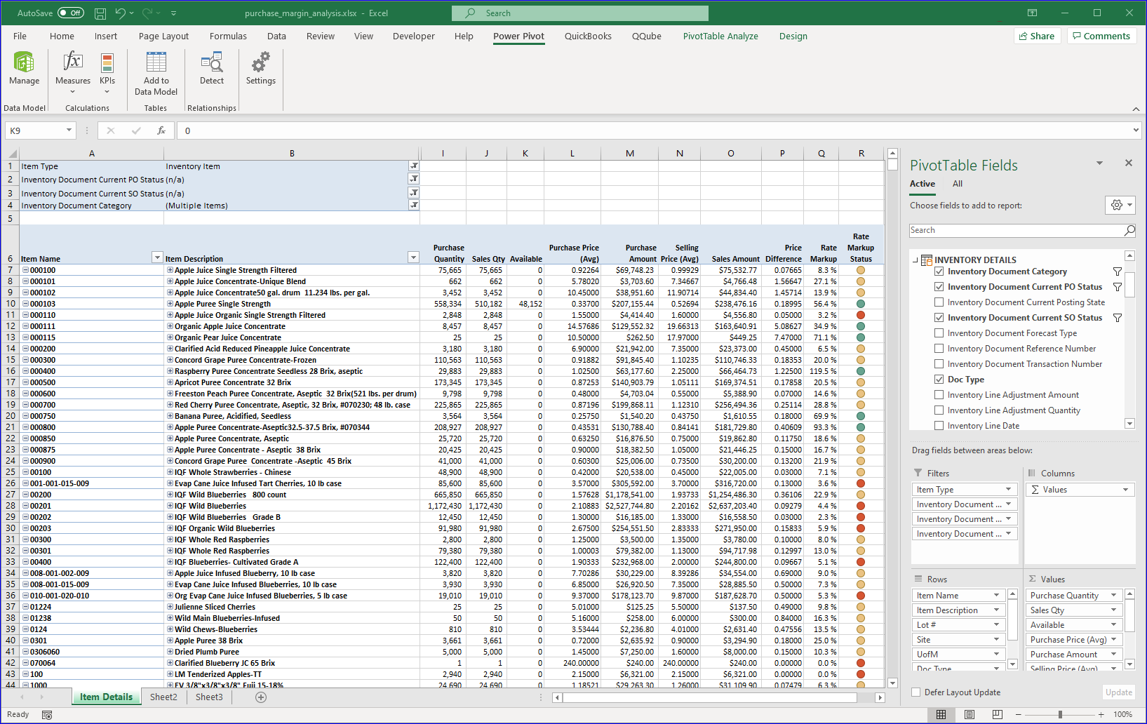 Excel Power Pivot example using QuickBooks purchasing report data