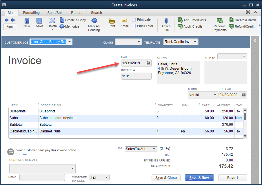 QuickBooks - Transaction Date