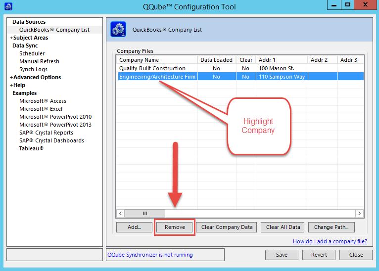 QQube Configuration Tool - Remove Company