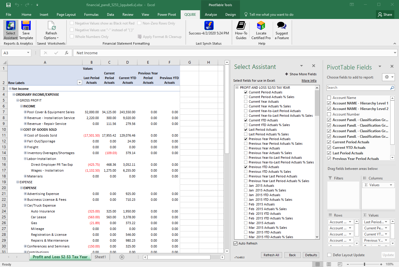 QuickBooks Profit and Loss by Class for 52/53 Tax Year using QQube with Excel