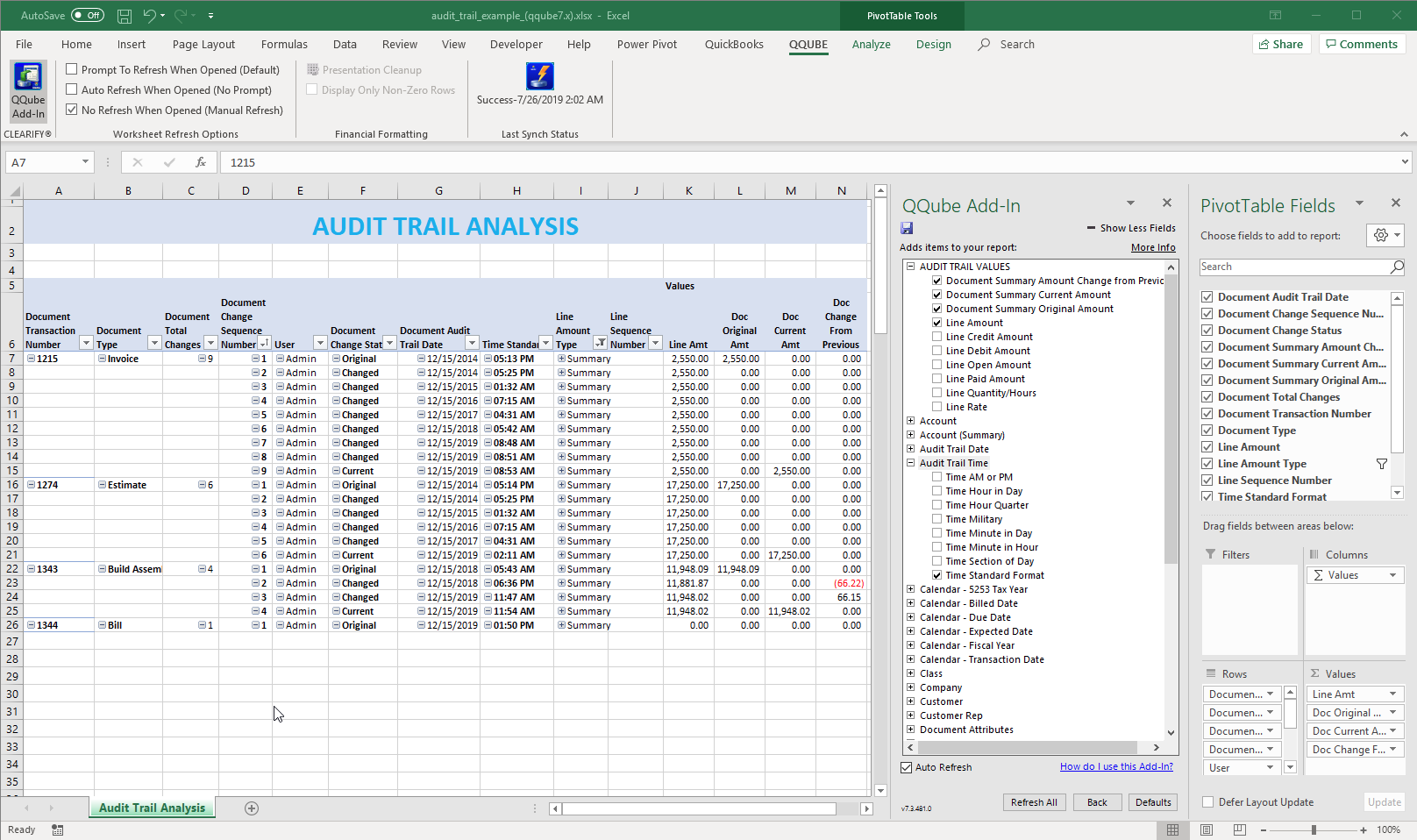 QQube Audit Trail Example in Excel