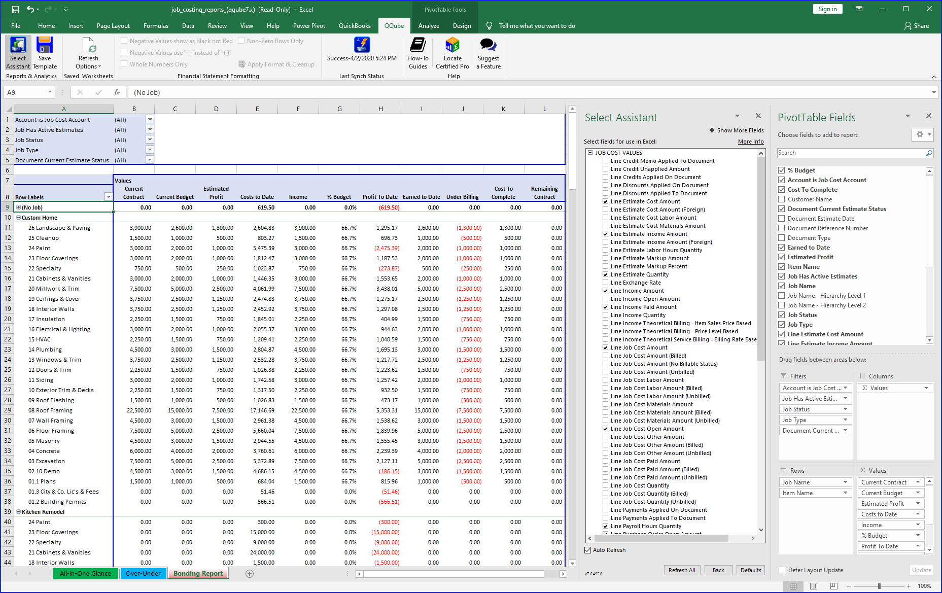 QuickBooks Job Bonding Report using QQube and Excel