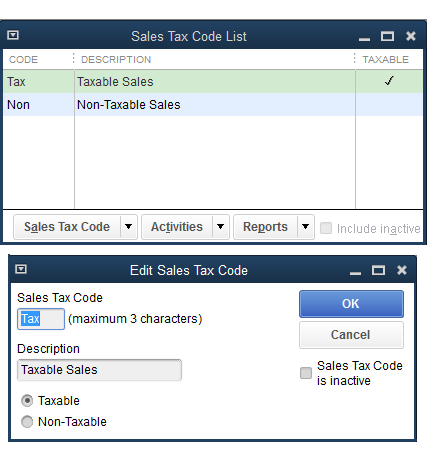 QuickBooks - Item Sales Tax Code