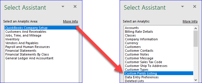 QQube Excel Add-In - Using Select Assistant to get list of Custom Fields in QuickBooks