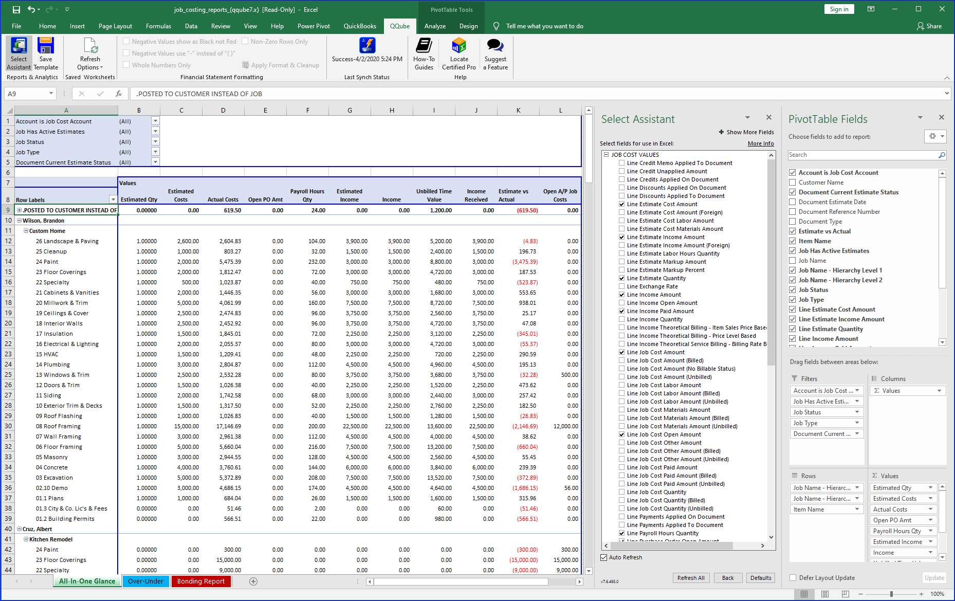 QuickBooks All-In-One Job Report using QQube and Excel