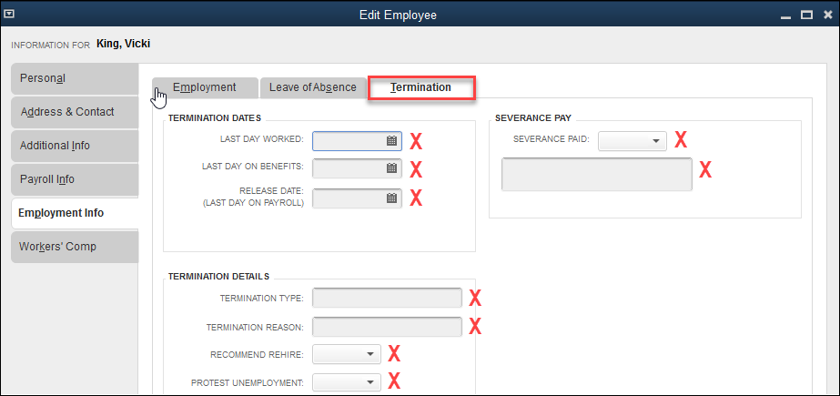 QuickBooks Fields Not Available in QQube - Termination