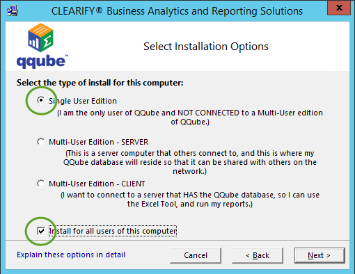 QQube for QuickBooks Installation - Single User Initial Option