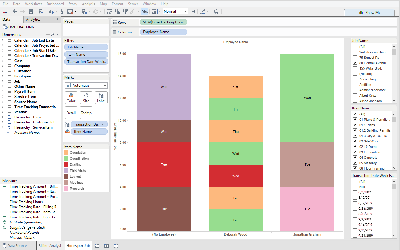 QuickBooks Time Tracking using QQube and Tableau