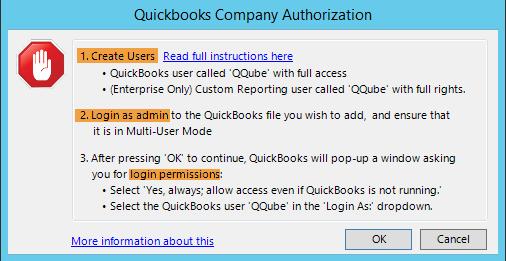 QQube Configuration Tool - Preparing for Company Authorization