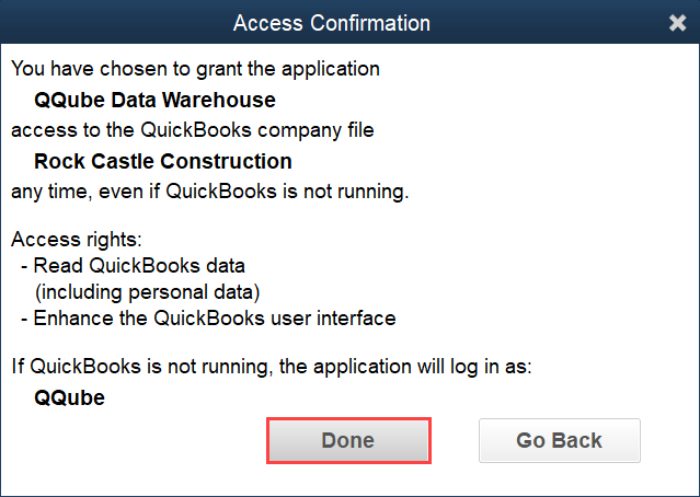 Confirm access to QuickBooks