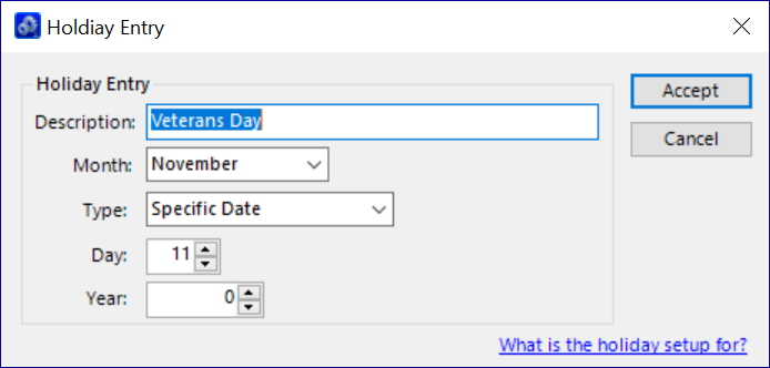 QQube Configuration  Tool - Calendar Holiday Entry