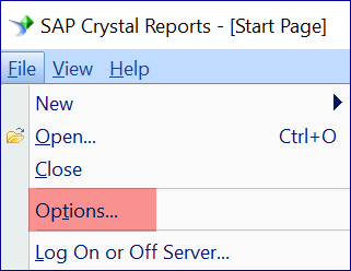 Crystal Reports Global Settings