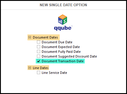 QQube 6.1 Single Date Options