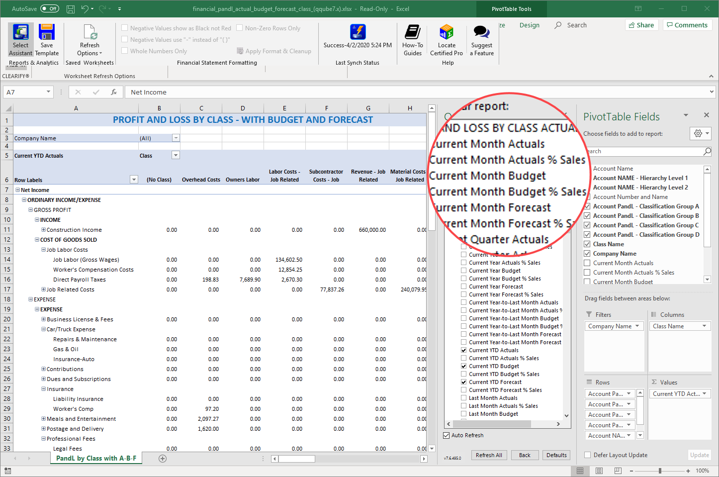 QuickBooks Profit and Loss by Class with Budget and Forecast using QQube with Excel
