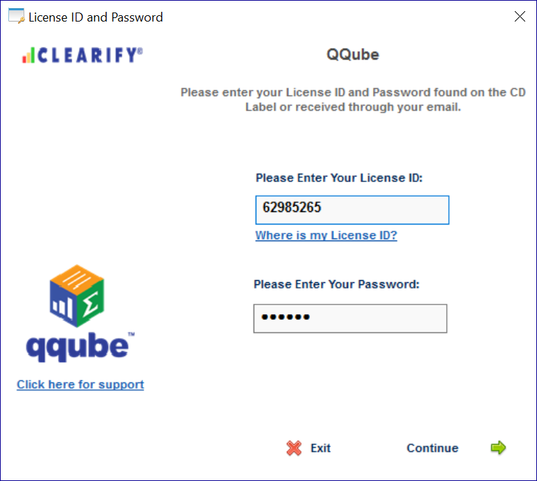 QQube Licensing Screen