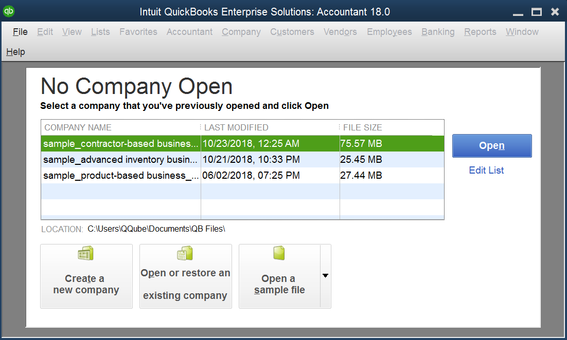 QuickBooks Open to No Company File