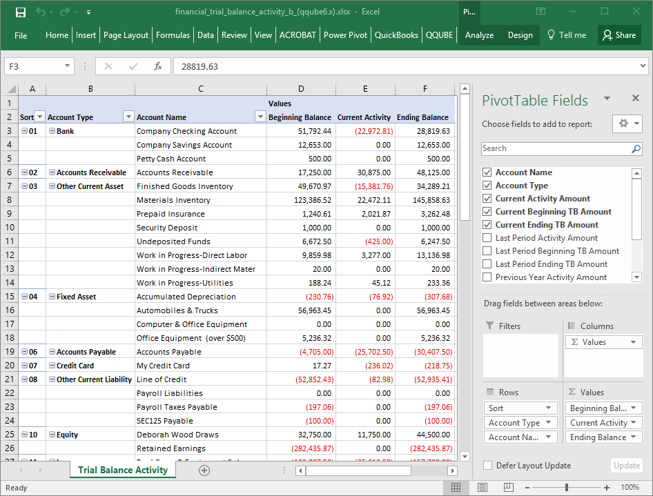 QQube Trial Balance Activity Example in Excel