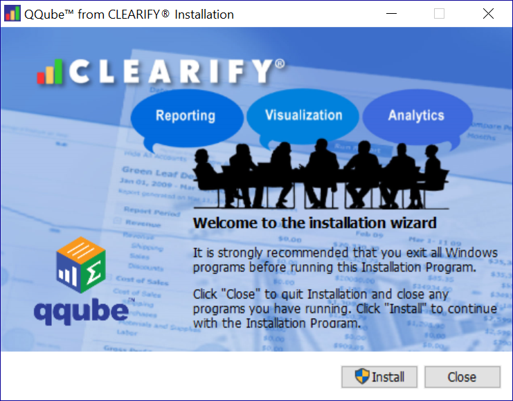 QQube Installation Welcome Screen