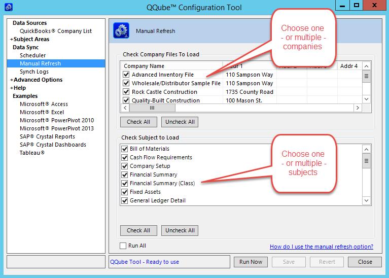 QQube Configuration Tool - Multi Company Ready to Refresh