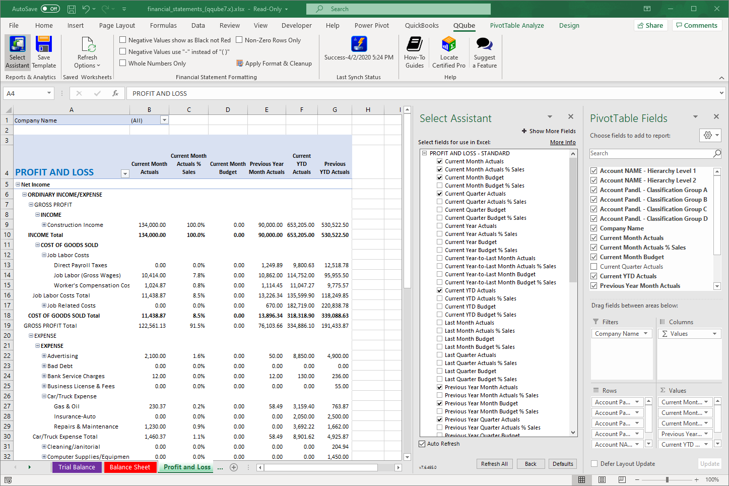 QuickBooks Profit and Loss with Budget using QQube with Exce
