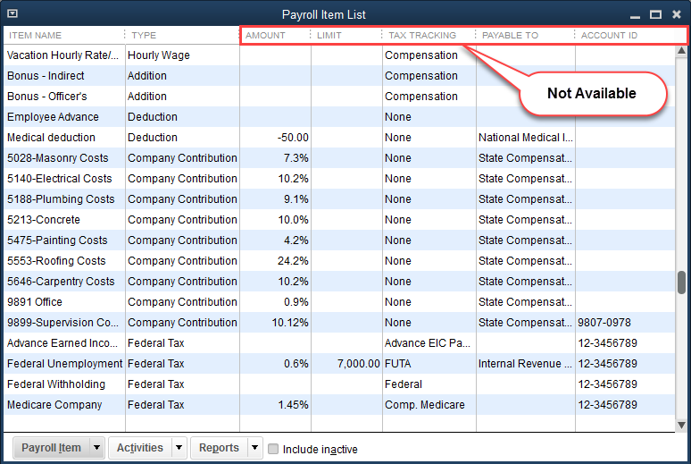 QuickBooks Payroll Item Information not available