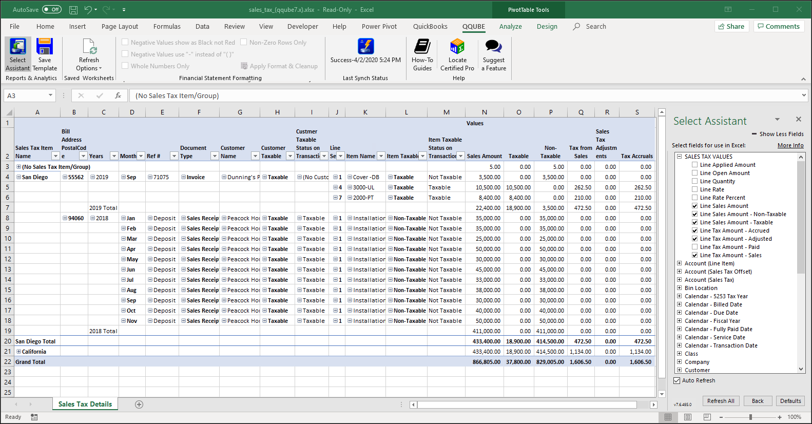 QuickBooks Sales Tax Details using QQube with Excel