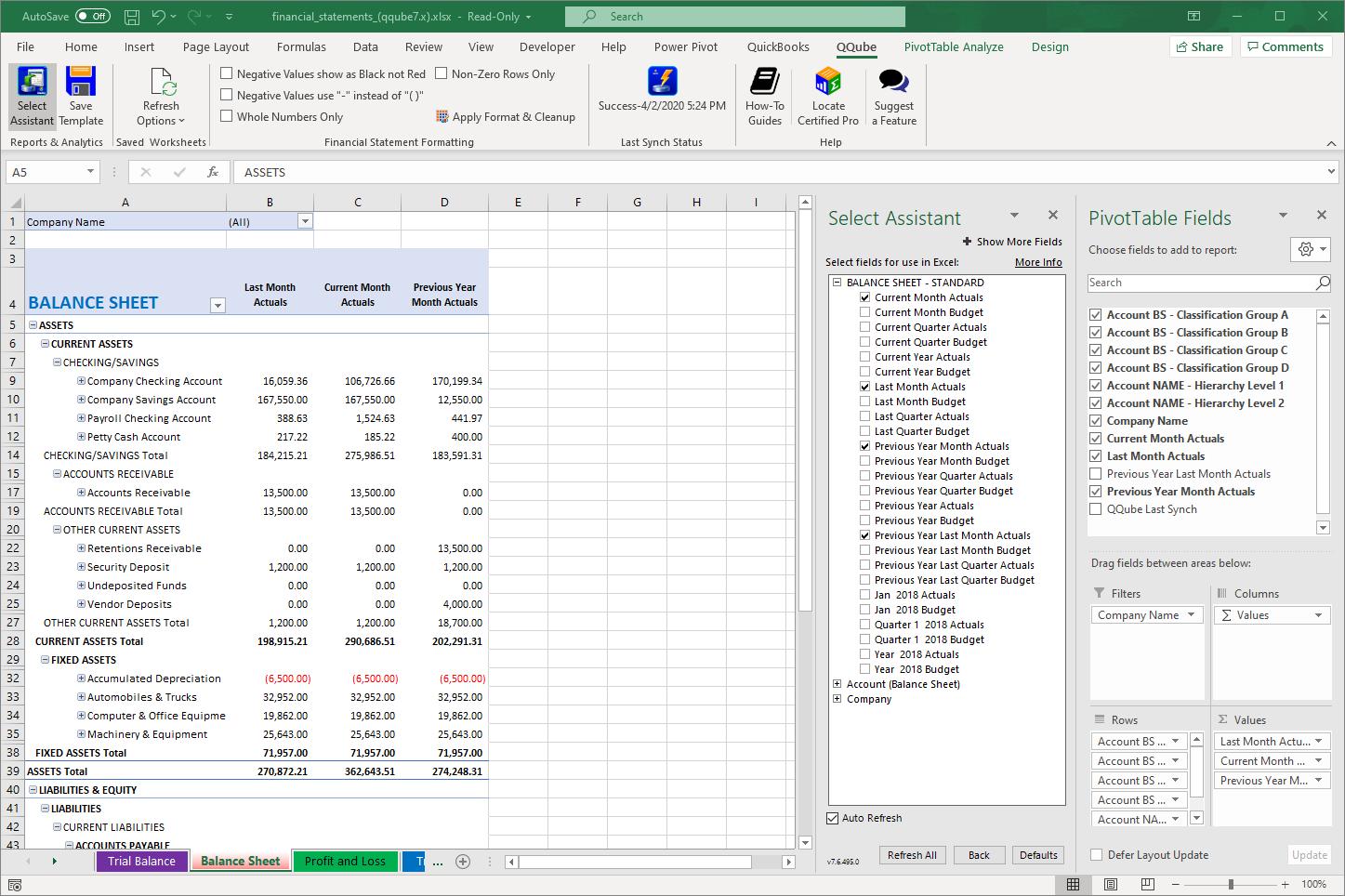 QuickBooks Balance Sheet Standard using QQube with Excel