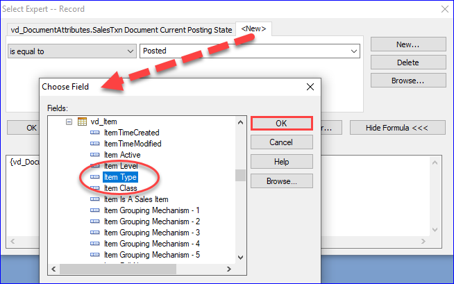 Crystal Reports Filtering Example A