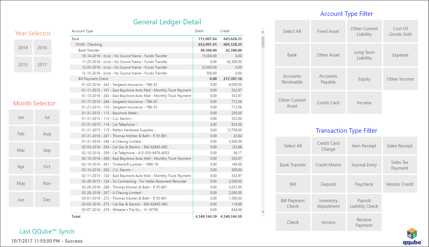 QQube and Power BI - General Ledger Detail