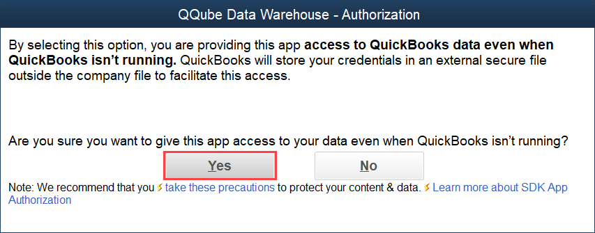 QuickBooks Authorization Screen for the QQube Data Warehouse